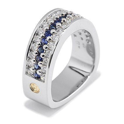 Three Row Paragon Pave Diamond and Sapphire Ring