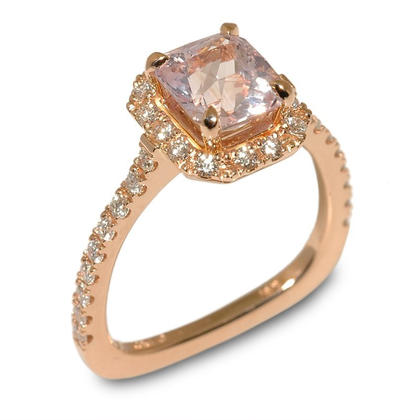 Empress Pink Sapphire and Diamond Halo Rose Gold Engagement Ring
