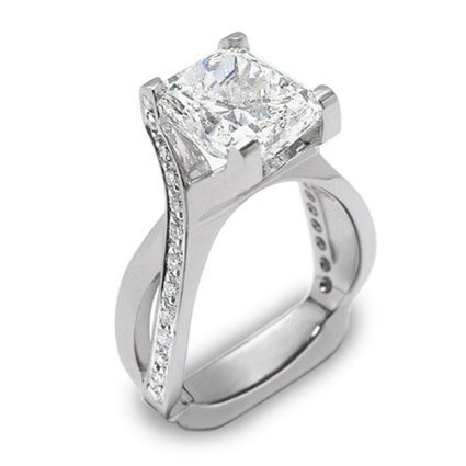 Interlace 4-Carat Diamond Platinum Engagement Ring