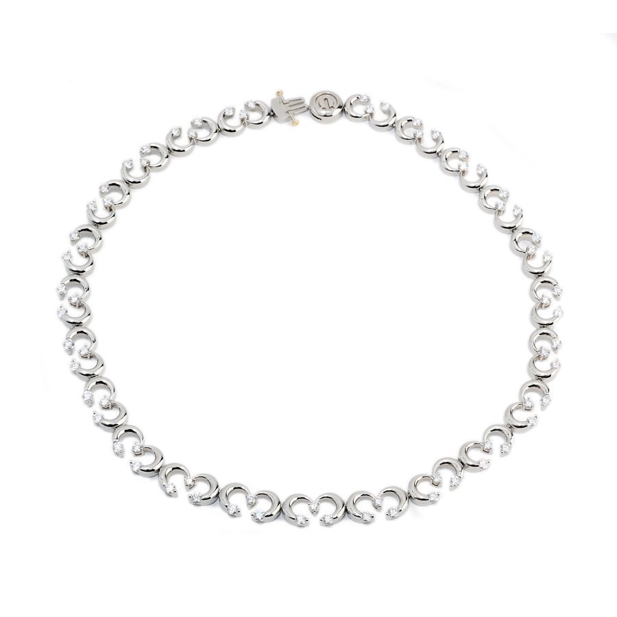 Coterie Round Brilliant Cut Diamond Riviera White Gold Necklace