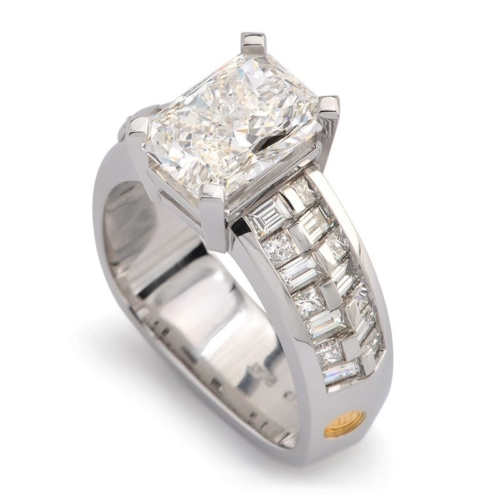 Crescendo Radiant Cut Diamond and Platinum Bridal Ring