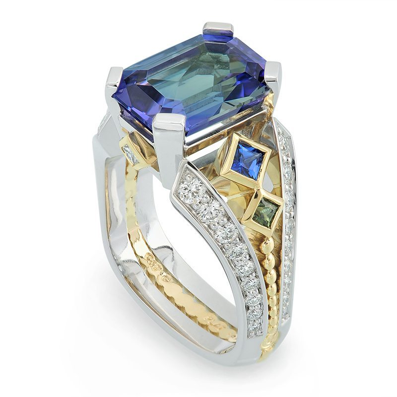 Deco Bi-Color Tanzanite Yellow Gold and Platinum Ring