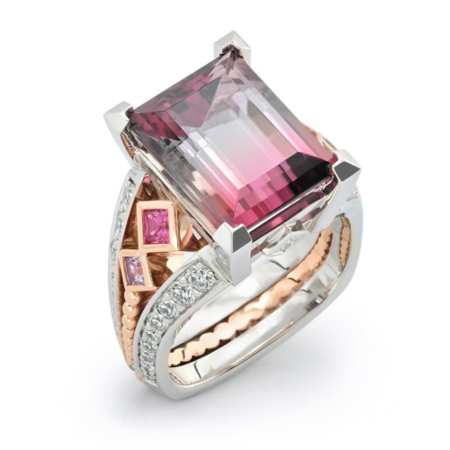 Deco Bi-Color Tourmaline and Diamond Rose Gold and Platinum Ring