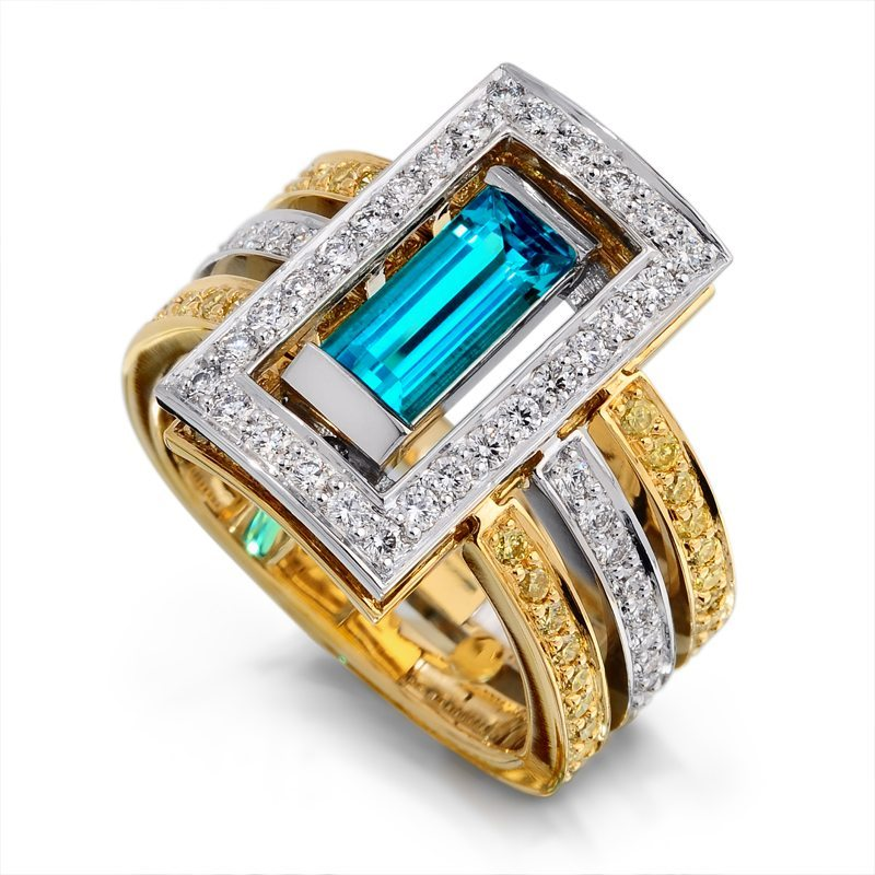 Interlude Paraiba Tourmaline Yellow Gold and Platinum Ring