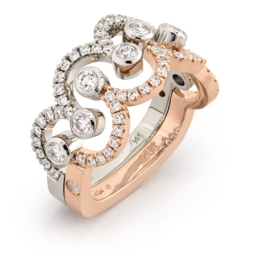 Siblings White Gold and Rose Gold Diamond Ring