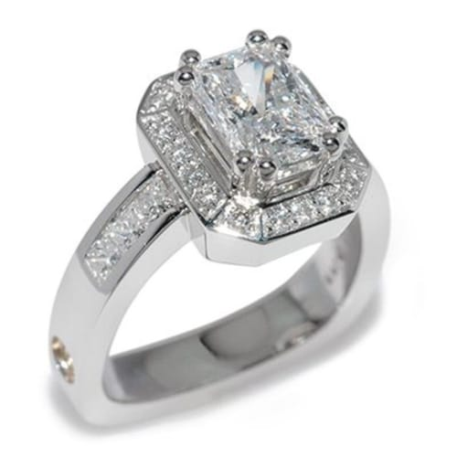 Majestic Radiant Cut Diamond Halo Platinum Ring