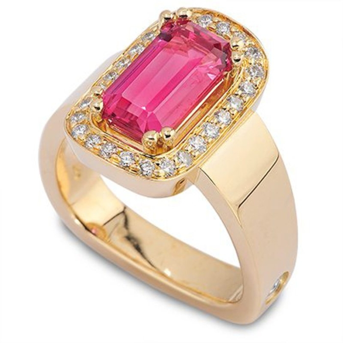Escapade Pink Spinel and Diamond Halo Ring