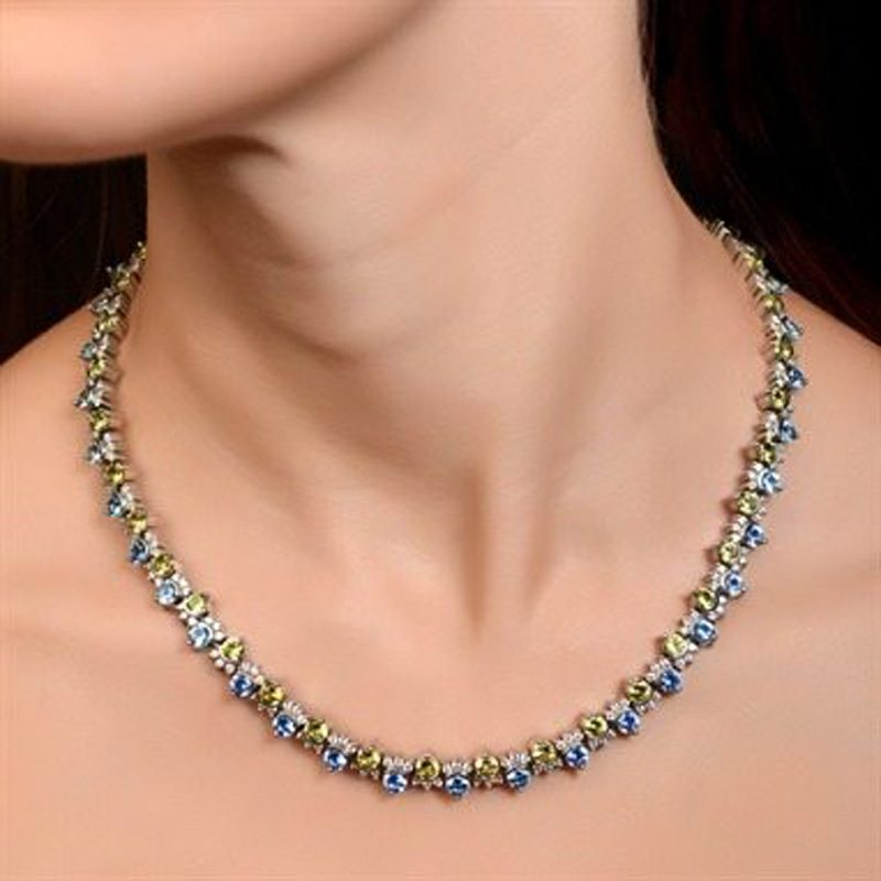 Masterpiece Garnet and Aquamarine Necklace
