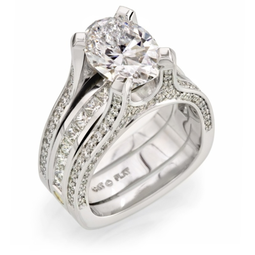 Platinum Oval Diamond Bridal Ring